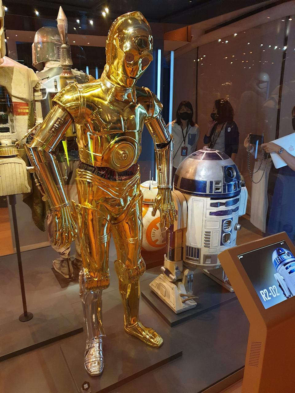 Props of droids C-3PO and R2-D2 at the Star Wars Identities exhibition in Singapore at the Artscience Museum. (Photo: Teng Yong Ping)