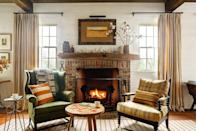 <p>Decorative antlers are typically used to spruce up a drab wall, but they work just as well on a mantel for a rustic vibe. </p>