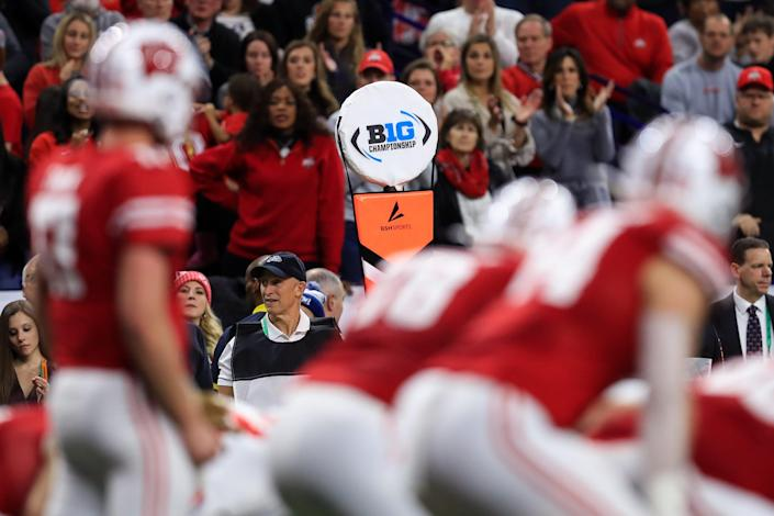 A view of the Big Ten logo on a sideline marker as the Wisconsin offense faces the Ohio State defense during the first half in the 2019 Big Ten Championship Game at Lucas Oil Stadium, Dec. 7, 2019.