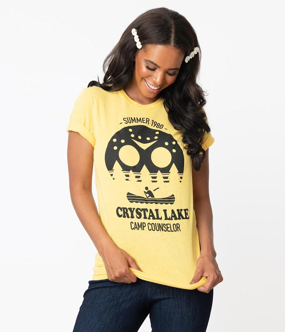 <p>Feel free to flaunt this <span>Crystal Lake Camp Counselor Unisex Tee</span> ($36) in any season. </p>