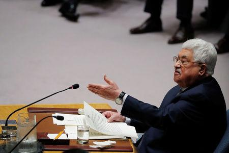 FILE PHOTO - Palestinian President Mahmoud Abbas speaks during a meeting of the UN Security Council at UN headquarters in New York, U.S., February 20, 2018. REUTERS/Lucas Jackson
