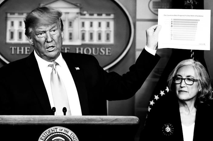 Pres. Trump addresses the press during a coronavirus briefing from the White House in February.