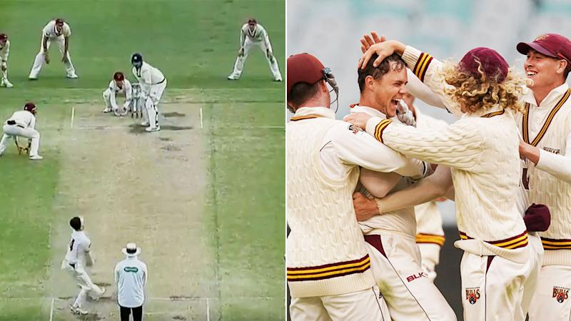 Qld celebrate their win after Mitchell Swepson's final wicket against Victoria.