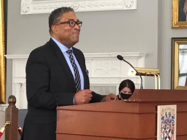 Minister of African Nova Scotian Affairs Tony Ince speaks in the Red Room at Province House on Tuesday, Feb. 23, 2021.