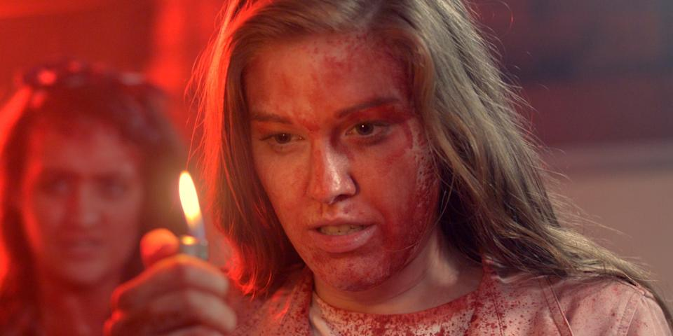 """A fed-up woman (Chelsey Grant) goes to extreme lengths to kill off a psycho in one of seven tales in the horror-comedy anthology """"Scare Package."""""""