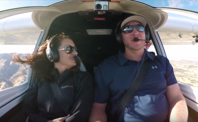 Brandy and Roy Halladay, as seen in a promo video for the Icon A5 plane, released in October 2017. (Icon)
