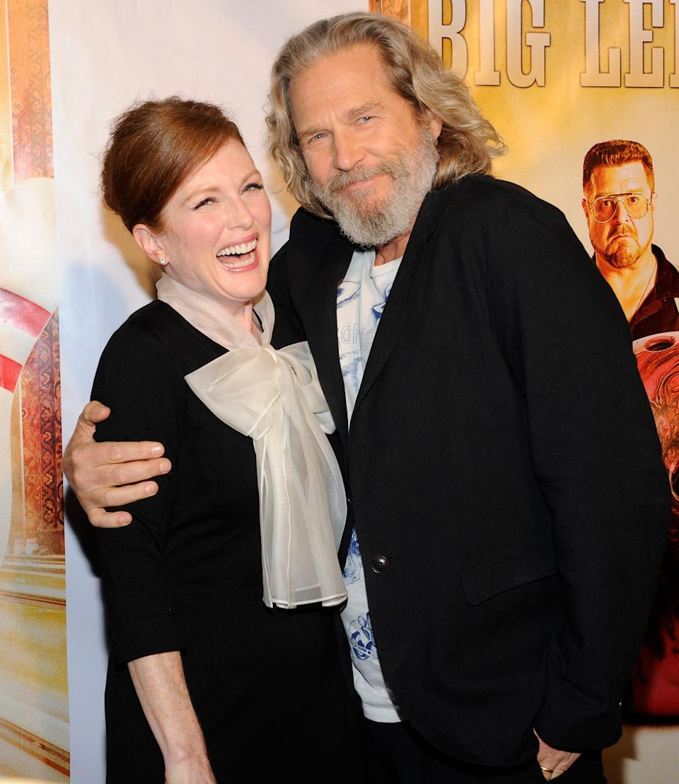 """Julianne Moore and Jeff Bridges attend """"The Big Lebowski"""" limited edition Blu-Ray DVD launch event at The Hammerstein Ballroom on Tuesday, Aug. 16, 2011 in New York."""