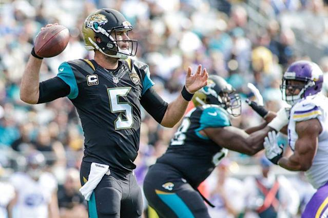 Don't expect serious passing volume from Blake Bortles in 2017 (Getty Images)