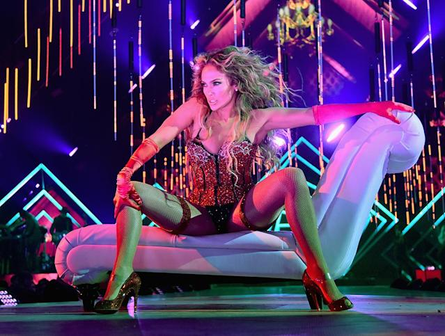 <p>J.Lo looked like absolute fire when she performed onstage during the 2018 DirecTV Now Super Saturday Night Concert in Minneapolis. The next day, she and love Alex Rodriguez headed over to catch the big game live at U.S. Bank Stadium. (Photo: Kevin Mazur/Getty Images for DirecTV) </p>