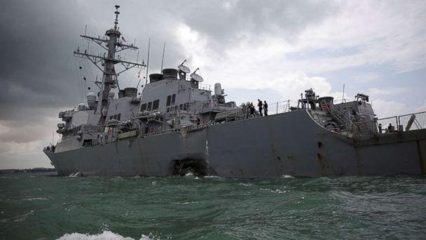 PHOTO: The USS John S. McCain is seen after a collision in Singapore, Aug. 21, 2017. (Ahmad Masood/Reuters)