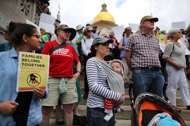 <p>Demonstrators gather outside the Massachusetts State House in Boston to protest the Trump administration's policy of separating children from their parents when they cross the U.S. border without authorization on June 14, 2018. (Photo: John Tlumacki/The Boston Globe via Getty Images) </p>