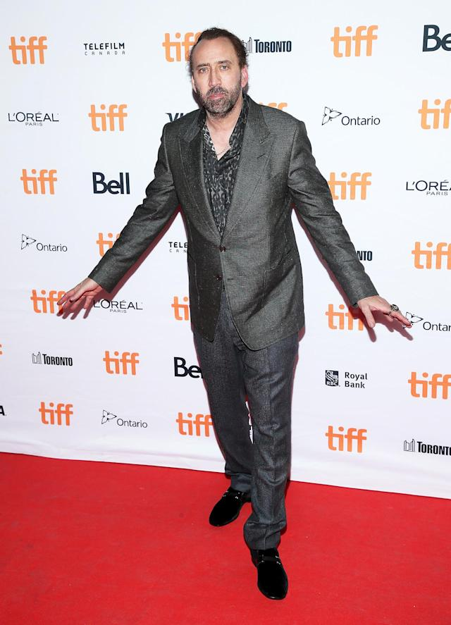"<p><a href=""https://www.yahoo.com/movies/tagged/nicolas-cage"" data-ylk=""slk:Nicolas Cage"" class=""link rapid-noclick-resp"">Nicolas Cage</a> at the <a href=""https://www.yahoo.com/movies/tagged/toronto-film-festival"" data-ylk=""slk:2017 Toronto International Film Festival"" class=""link rapid-noclick-resp"">2017 Toronto International Film Festival</a> for <a href=""https://www.yahoo.com/movies/film/mom-and-dad"" data-ylk=""slk:Mom & Dad"" class=""link rapid-noclick-resp""><em>Mom & Dad</em></a>, on Sept. 9 (Photo: J. Countess/Getty Images)<br><br></p>"