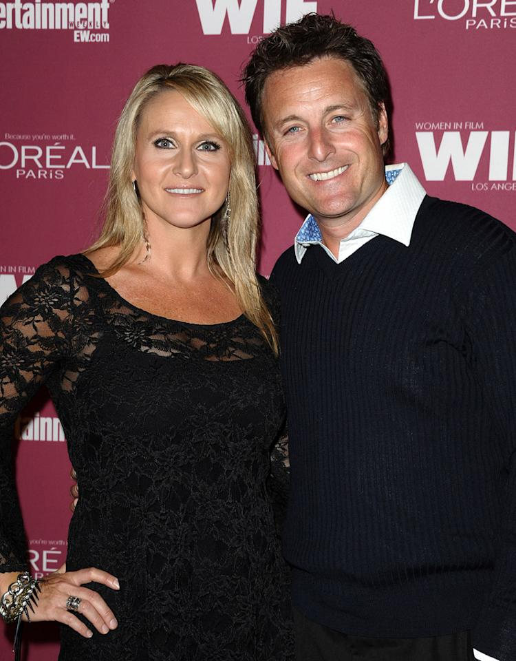 TV personality Chris Harrison (R) and wife Gwen Jones attend the EW And WIF pre-Emmy party at BOA Steakhouse on September 16, 2011 in West Hollywood, California.