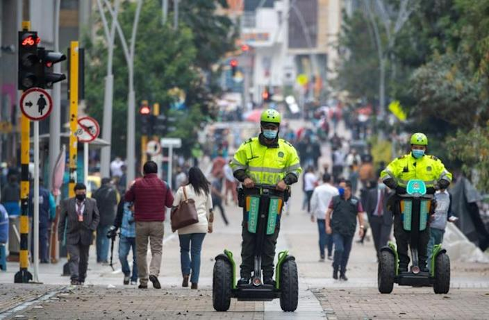 Security forces, such as those seen here in Bogota on February 10, 2021, have taken preventative measures following threat of an attack by the ELN