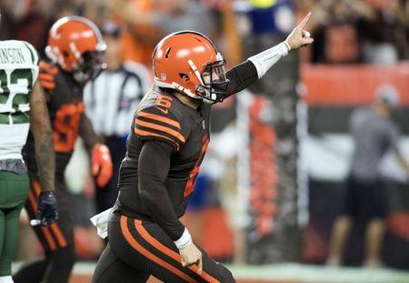 Sep 20, 2018; Cleveland, OH, USA; Cleveland Browns quarterback Baker Mayfield (6) celebrates as Cleveland Browns running back Carlos Hyde (not pictured) runs for a touchdown during the third quarter against the New York Jets at FirstEnergy Stadium. Mandatory Credit: Ken Blaze-USA TODAY Sports