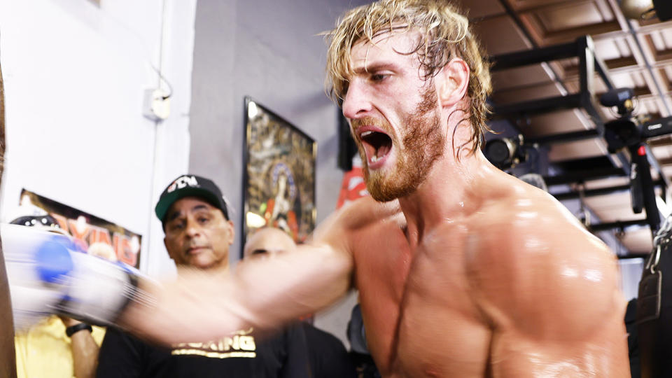 Logan Paul works out at the 5th St. Gym prior to his June 6th exhibition boxing match against Floyd Mayweather. (Photo by Michael Reaves/Getty Images)