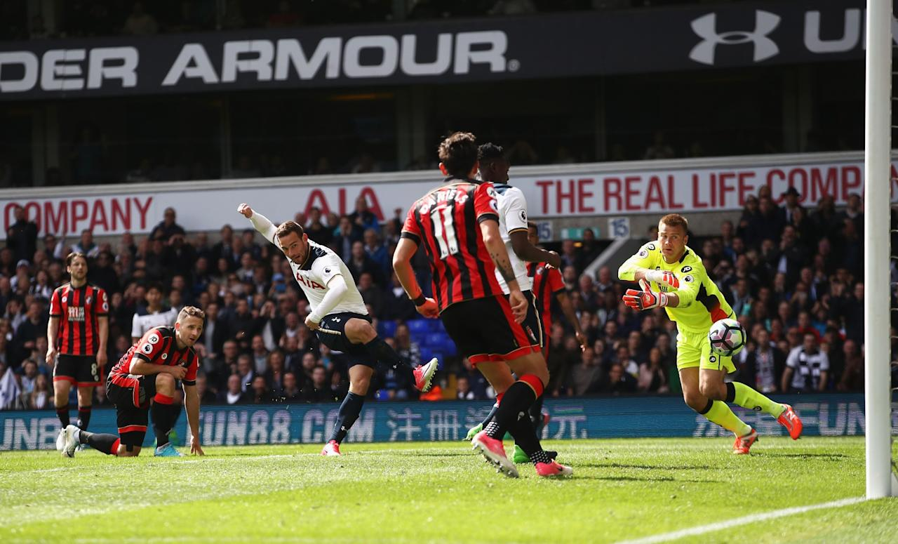 <p>Vincent Janssen drills home Spurs' fourth goal</p>