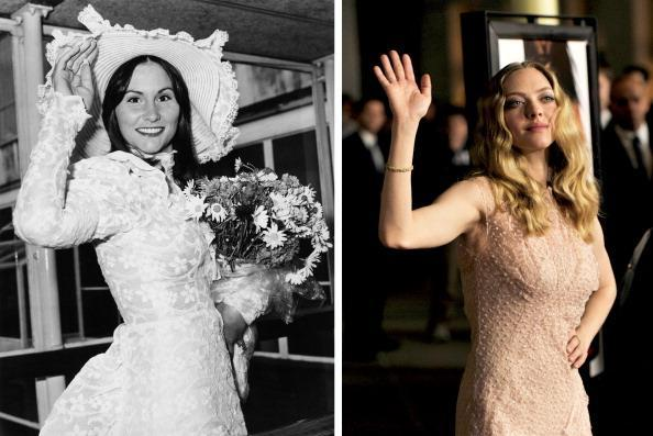 """(FILE PHOTO) In this composite image a comparison has been made between Amanda Seyfried (L) and actress Linda Lovelace. Amanda Seyfried will reportedly play Linda Lovelace in a film biopic entitled 'Lovelace.' ***LEFT IMAGE*** 1974: American pornographic actress Linda Lovelace (1949 - 2002) arriving at London Airport (now Heathrow) on May 28, 1974. She is wearing a lace dress and matching hat. (Photo by Evening Standard/Hulton Archive/Getty Images) ***RIGHT IMAGE*** LOS ANGELES, CA - FEBRUARY 21: Actress Amanda Seyfried arrives at the premiere of Summit Entertainment's """"Gone"""" at the Arclight Theater on February 21, 2012 in Los Angeles, California. (Photo by Kevin Winter/Getty Images)"""