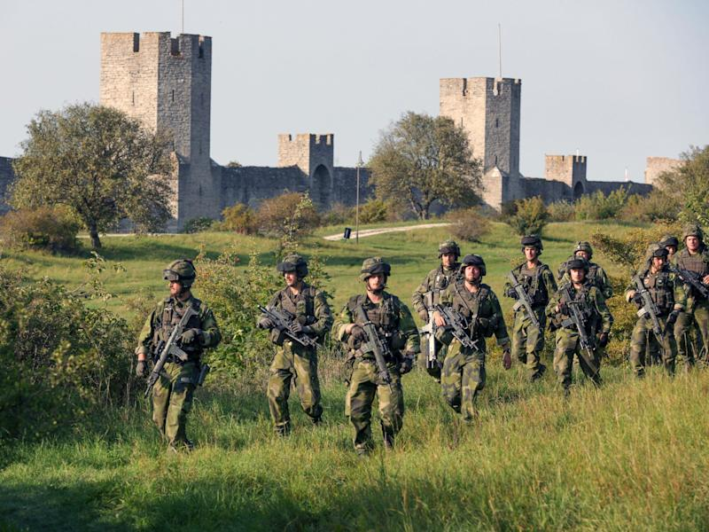 Swedish troops patrol outside Visby, on Gotland island, Sweden: AFP/Getty Images
