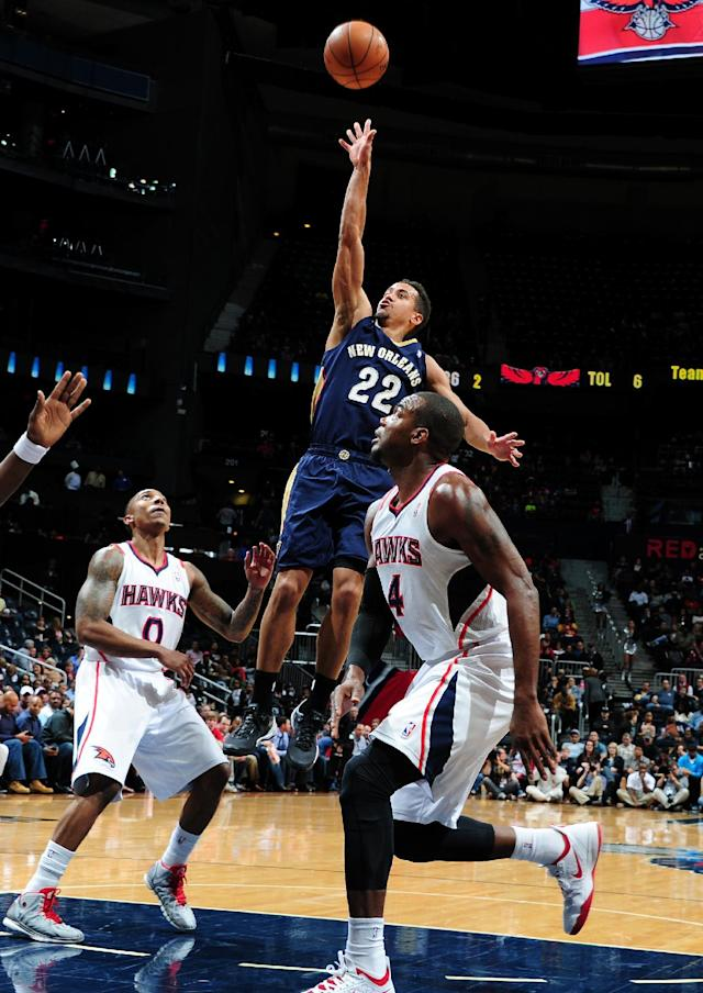 ATLANTA, GA - MARCH 21: Brian Roberts #22 of the New Orleans Pelicans shoots against the Atlanta Hawks on March 21, 2014 at Philips Arena in Atlanta, Georgia. (Photo by Scott Cunningham/NBAE via Getty Images)