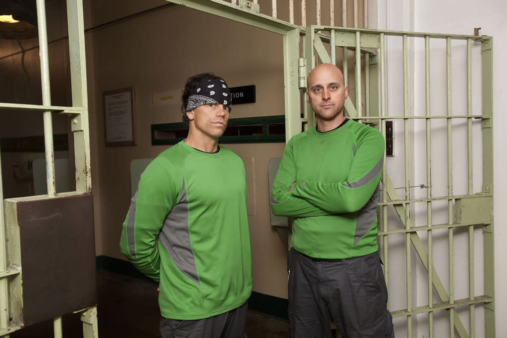 """Contestants Jeff and Lexx from """"The Great Escape,"""" at the infamous Alcatraz prison in San Francisco."""