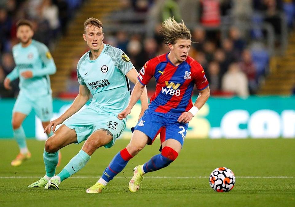 Conor Gallagher dribbles away from Dan Burn (Action)