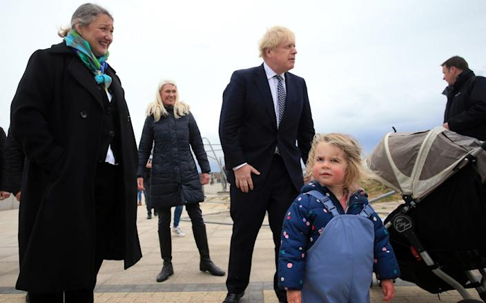 Boris Johnson steps out on the campaign trail in Hartlepool on Monday - Lindsey Parnaby/WPA Pool/Getty Images