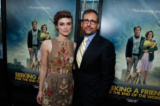 Keira Knightley and Steve Carell premiere of 'Seeking a Friend for the End of the World' in Los Angeles on June 18, 2012  -- Getty Premium