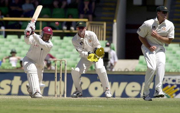 3 Dec 2000:  West Indies captain Jimmy Adams bats defiantly against Australia during the third days play of the Second Test between Australia and West Indies at the WACA Cricket ground in Perth, Australiax Digital Image. Mandatory Credit: Tony McDonough/ALLSPORT