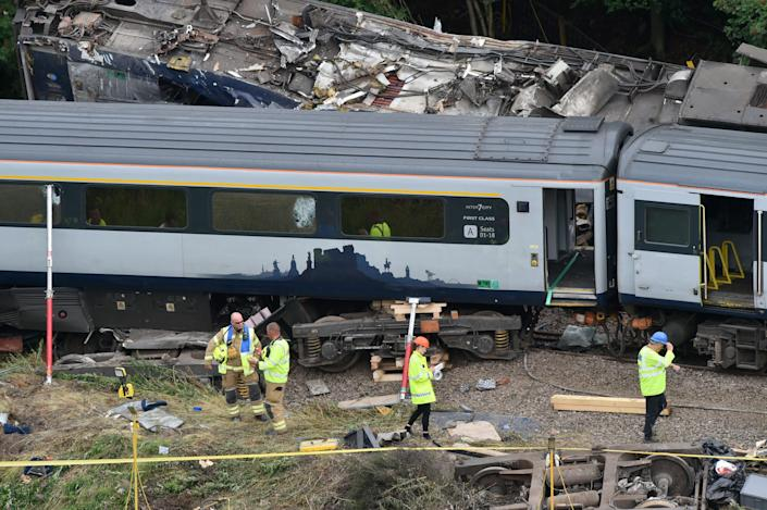 Three people were killed when the ScotRail train derailed near Stonehaven, Aberdeenshire, Scotland. (Reuters)