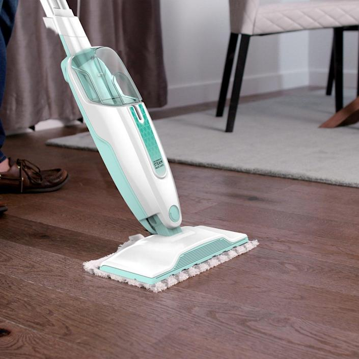 <p>Keep floors clean with the <span>Shark Steam Mop</span> ($49), all you need is water. It is lightweight and maneuverable, allowing you to get into tight spaces. </p>
