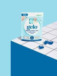 """<p><strong>gelo Hand Soap Starter Kit</strong></p><p>geloproducts.com</p><p><strong>$7.00</strong></p><p><a href=""""https://geloproducts.com/products/sea-mist-foaming-hand-soap-starter-kit?variant=33317159239818¤cy=USD&gclid=CjwKCAiAoOz-BRBdEiwAyuvA65CzGQzfx-dhwQkbNsOgzhbIHQSu1mxFbej1gkrMyBCKHDVNkIHOMBoCAncQAvD_BwE"""" rel=""""nofollow noopener"""" target=""""_blank"""" data-ylk=""""slk:Shop Now"""" class=""""link rapid-noclick-resp"""">Shop Now</a></p><p>Gelo's soaps come ready to assemble—because they are delivered water-free, the product has a lighter carbon footprint when it comes to creation and shipping—pop the pouch into the bottle, add water, and shake. It transforms into a super-foamy hand soap just like magic. </p>"""