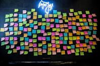 So-called Lennon Walls once plastered with protest slogans have been replaced with blank notes