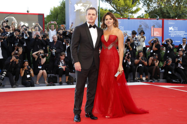 <p>Damon had wife Luciana on his arm at the Venice Film Festival for the <i>Downsizing</i> premiere. Can you believe they're been married for nearly 12 years? (Photo: P. Lehman/Barcroft Images/Barcroft Media via Getty Images) </p>