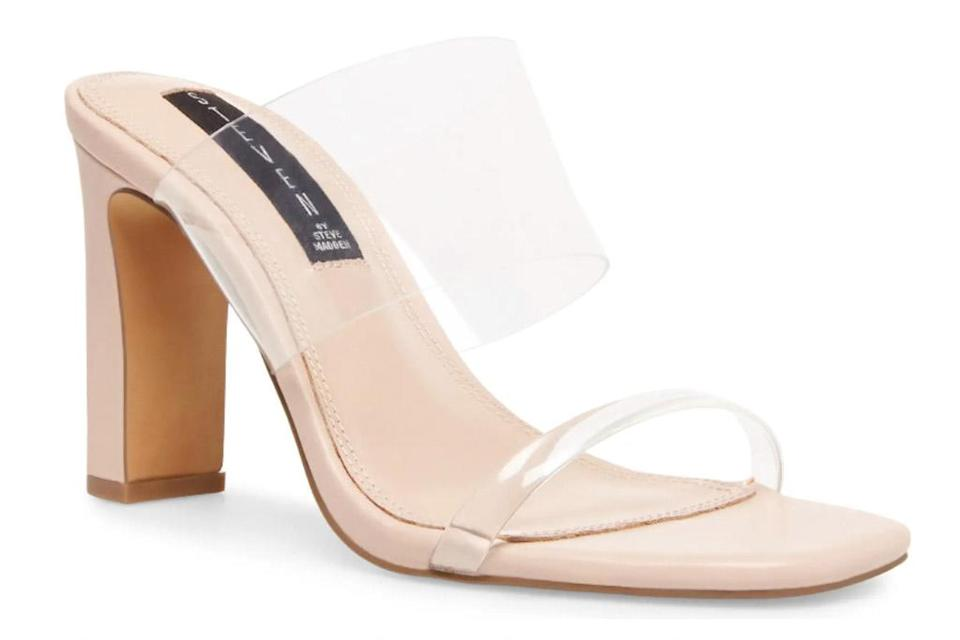 clear heels, sandals, mules, steven new york