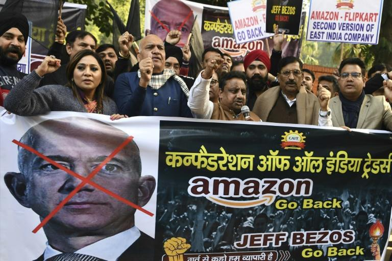 Hundreds of small traders staged protests during his visit to the giant South Asian market this week, which came as anti-trust authorities launched a probe into Amazon and its main rival Walmart-owned Flipkart