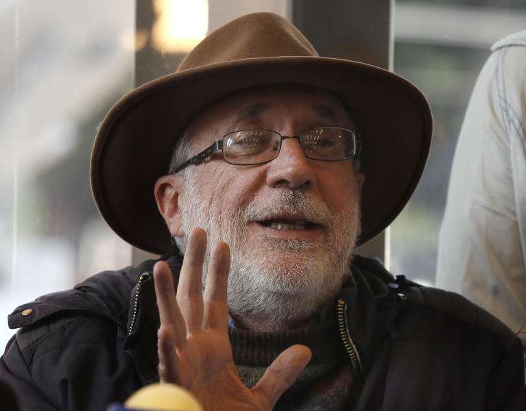 Mexican writer and activist Javier Sicilia gives a press conference in Mexico City, Thursday, Jan. 9, 2020. Sicilia and other activists are calling to march against violence on Jan. 23, from Cuernavaca, Morelos state, to the National Palace in the Mexico's capital. (AP Photo/Marco Ugarte)