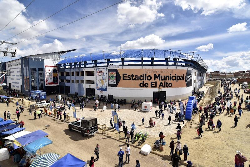 The Municipal Stadium in El Alto is 4,000m above sea level, though FIFA suspended all matches above 2,500m above sea level in 2007 (AFP Photo/Aizar RALDES)