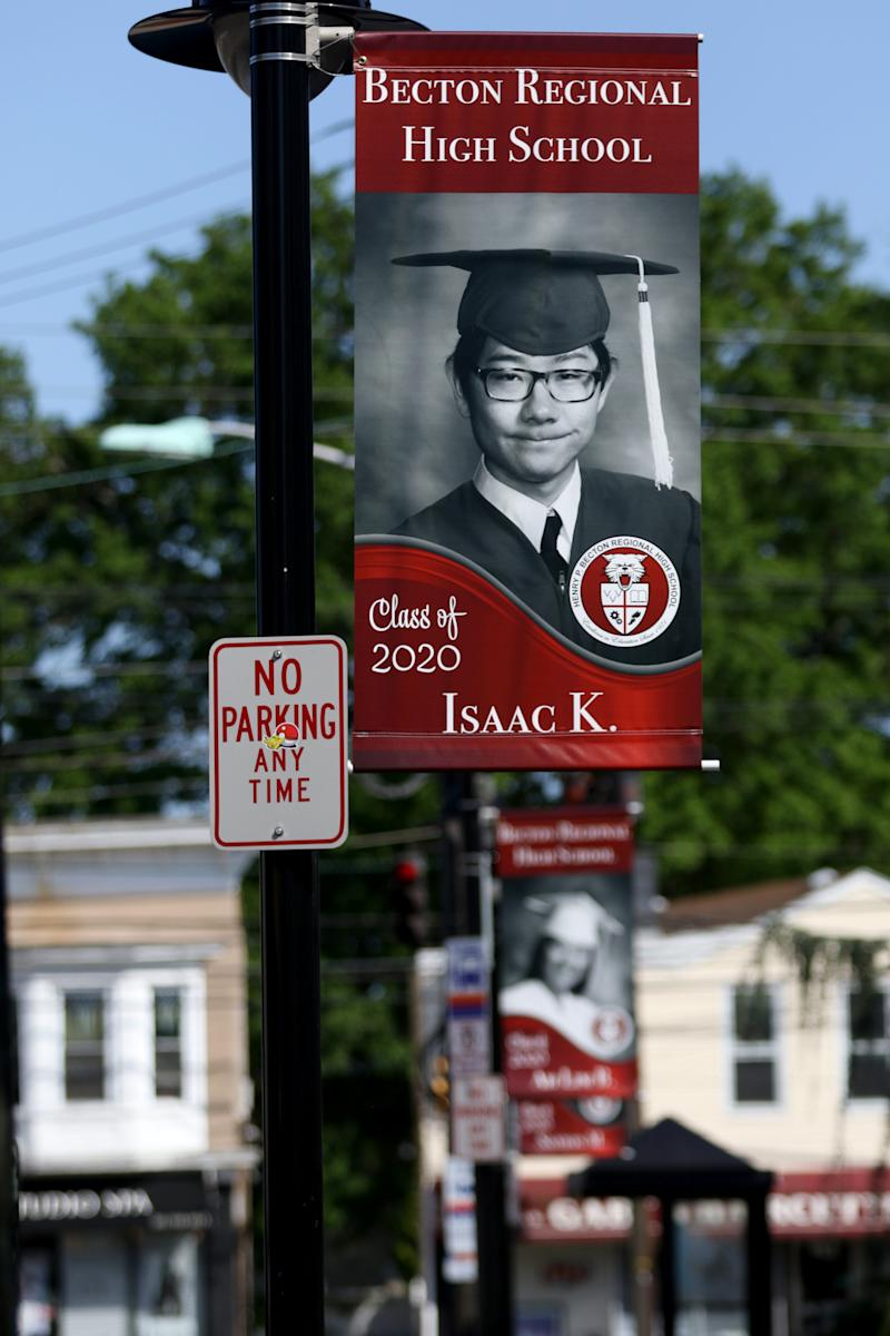 Pictures of Becton Regional High School seniors are shown on Paterson Avenue in East Rutherford, N.J. The school district, which includes East Rutherford and Carlstadt, raised money to put up banners throughout the towns depicting all (approximately 130) graduating seniors.