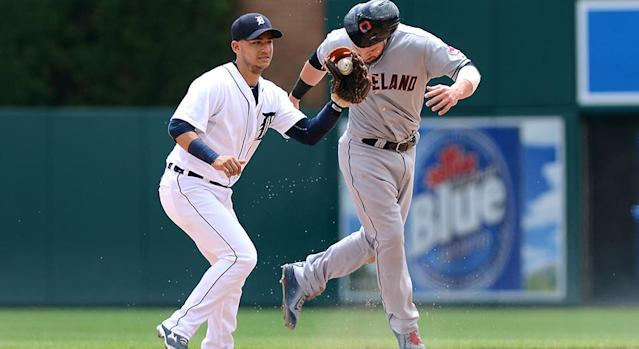 Jose Iglesias #1 of the Detroit Tigers has always been a shortstop, but he has the athleticism to take on second base also. (AP)