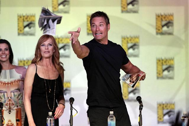 "Meghan Ory, Marg Helgenberger, and Josh Holloway onstage at the ""Intelligence"" panel during Comic-Con International 2013 at San Diego Convention Center on July 18, 2013 in San Diego, California."