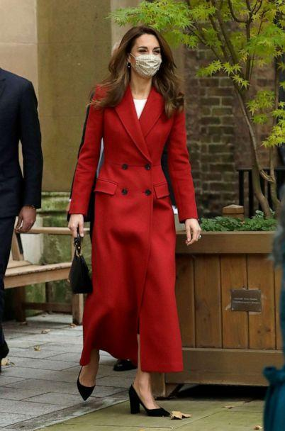 PHOTO: Catherine, Duchess of Cambridge arrives at St. Bartholomew's Hospital to attend an event to mark the launch of the nationwide 'Hold Still' community photography project on Oct. 20, 2020, in London. (Matt Dunham/WPA Pool via Getty Images)