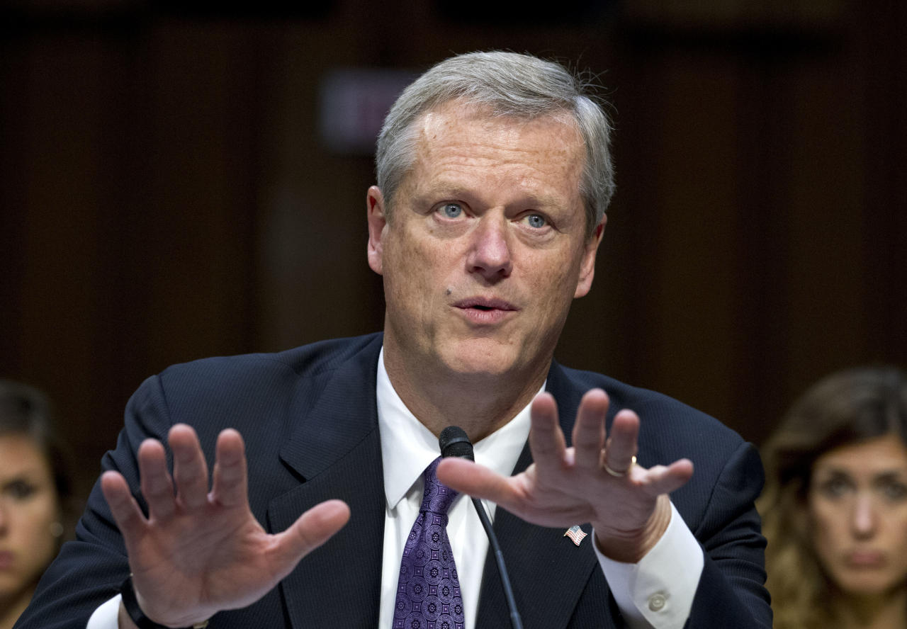 """FILE - In this Sept. 7, 2017, file photo, Massachusetts Governor Charlie Baker speaks at the Senate Health, Education, Labor, and Pensions Committee hearing to discuss ways to stabilize health insurance markets, on Capitol Hill in Washington. Less than three months after President Donald Trump declared the U.S. opioid crisis a public health emergency in October 2017, the nation's governors are calling on his administration and Congress to provide more money and coordination for the fight against the drugs. """"The opioid and heroin epidemic knows no boundaries, and governors across the country are keenly aware of the challenges it poses for our communities and the growing need for comprehensive, bipartisan solutions to help end the epidemic,"""" Baker said in a statement. (AP Photo/Jose Luis Magana, File)"""