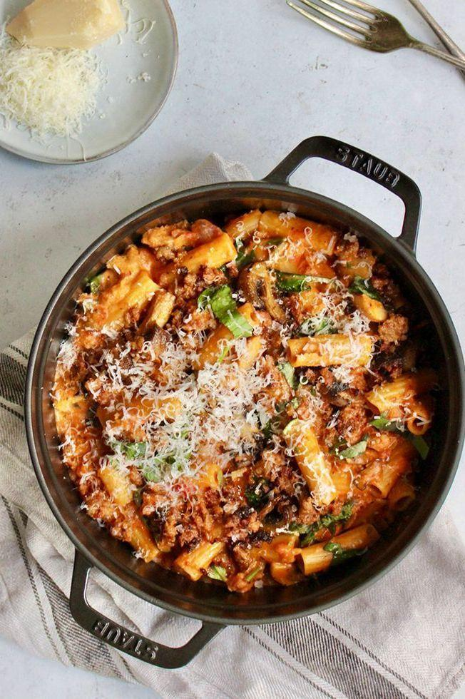 """<p>This one-pot <a href=""""https://www.delish.com/uk/cooking/recipes/a29734634/creamy-tuscan-sausage-pasta-recipe/"""" rel=""""nofollow noopener"""" target=""""_blank"""" data-ylk=""""slk:sausage pasta"""" class=""""link rapid-noclick-resp"""">sausage pasta</a> dish is deliciously rich and indulgent - and only leaves you one pan to wash up! Feel free to use another type of <a href=""""https://www.delish.com/uk/cooking/recipes/a29571352/chicken-sausage-and-mushroom-penne-recipe/"""" rel=""""nofollow noopener"""" target=""""_blank"""" data-ylk=""""slk:sausage"""" class=""""link rapid-noclick-resp"""">sausage</a> if you prefer.</p><p>Get the <a href=""""https://www.delish.com/uk/cooking/recipes/a35508459/sausage-pasta/"""" rel=""""nofollow noopener"""" target=""""_blank"""" data-ylk=""""slk:One-Pot Sausage Pasta"""" class=""""link rapid-noclick-resp"""">One-Pot Sausage Pasta</a> recipe.</p>"""
