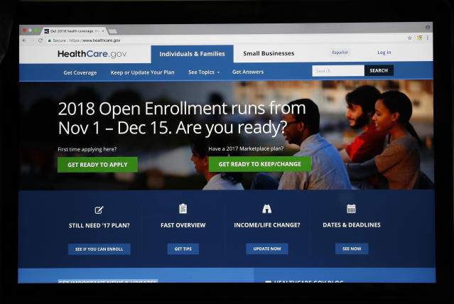 The Healthcare.gov website is seen on a computer screen Wednesday, Oct. 18, 2017, in Washington. (AP Photo/Alex Brandon)