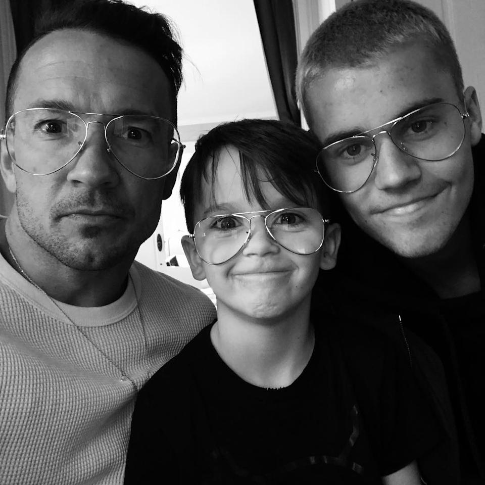 Carl shared this snap of Justin Bieber and his son in 2017. Photo: Instagram/carllentz.