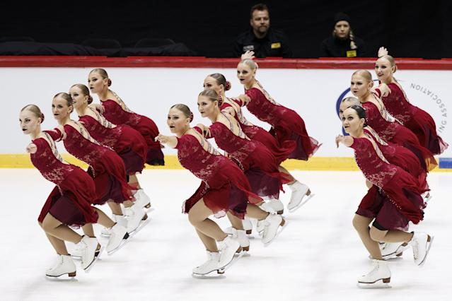 ISU World Synchronized Skating Championships 2019 - Short Program - Helsinki Ice Hall, Helsinki, Finland - April 12, 2019. Finland's Team Helsinki Rockettes competes. Lehtikuva/Roni Rekomaa via REUTERS ATTENTION EDITORS - THIS IMAGE WAS PROVIDED BY A THIRD PARTY. NO THIRD PARTY SALES. NOT FOR USE BY REUTERS THIRD PARTY DISTRIBUTORS. FINLAND OUT. NO COMMERCIAL OR EDITORIAL SALES IN FINLAND.