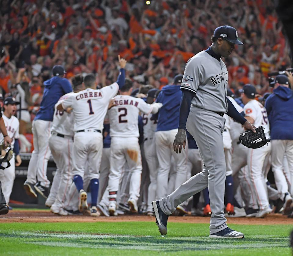 Houston, TX: New York Yankees relief pitcher Aroldis Chapman walks off as the Houston Astros second baseman Jose Altuve hits a two-run home run in the ninth inning of Game 6 of the ALCS on Saturday, Oct. 19, 2019, at Minute Maid Park in Houston, Texas. (Photo by Thomas A. Ferrara/Newsday via Getty Images)