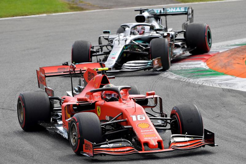 Ferrari's Monegasque driver Charles Leclerc competes ahead of Mercedes' British driver Lewis Hamilton during the Italian Formula One Grand Prix at the Autodromo Nazionale circuit in Monza on September 8, 2019. (Photo by Andrej ISAKOVIC / AFP) (Photo credit should read ANDREJ ISAKOVIC/AFP/Getty Images)