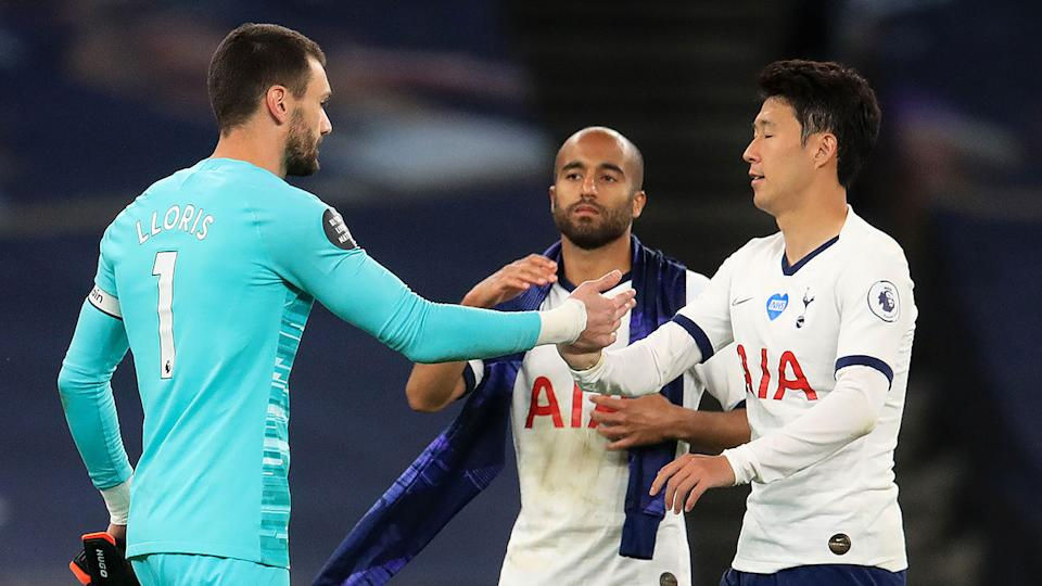 Lloris and Son appeared to have settled their differences by the end of the match. Pic: Getty